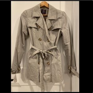 Taupe double breasted overcoat trench coat w/ belt